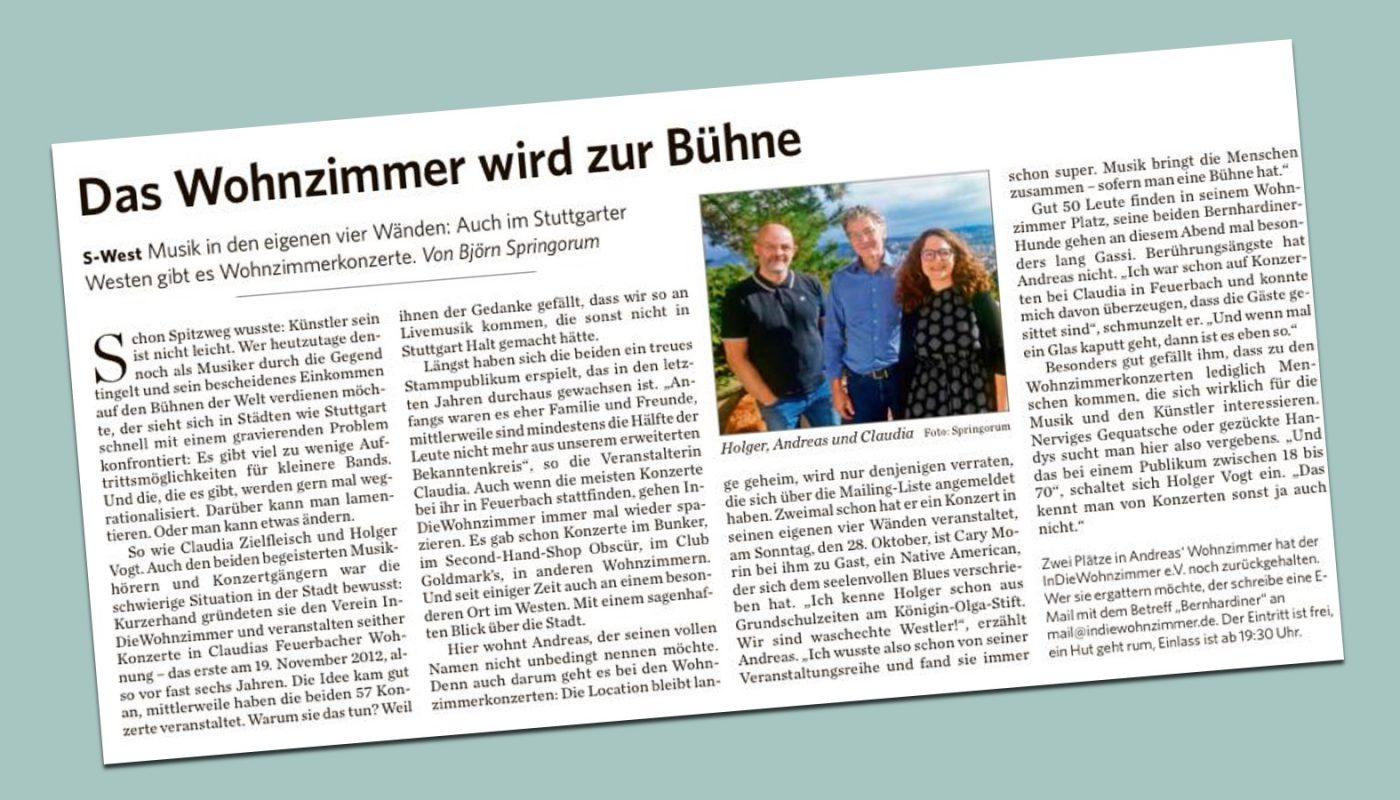 """""""Das Wohnzimmer wird zur Bühne"""" (StZ 27.10.2018)"""